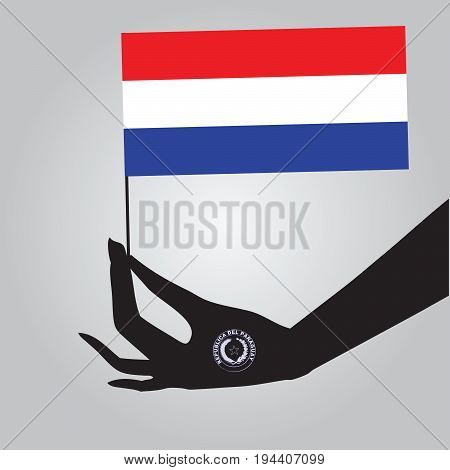 Flag of Paraguay in a female hand. Vector illustration.