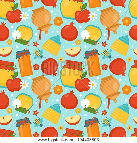 Seamless Pattern Background With Honey, Apple And Pomegranate. Rosh Hashana Jewish Holiday Concept