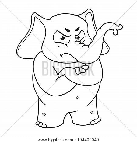 Elephant cute Nick. Big collection vector cartoon characters of elephants on an isolated background. Angry, arms crossed. EPS 10.