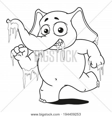 Character. Elephant frozen in ice. Big collection of isolated elephants. Vector, cartoon.