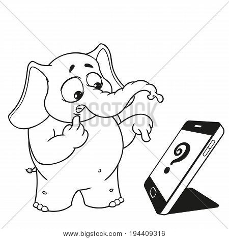 Elephant. Character. Someone called, surprised. Big collection of isolated elephants. Vector, cartoon.