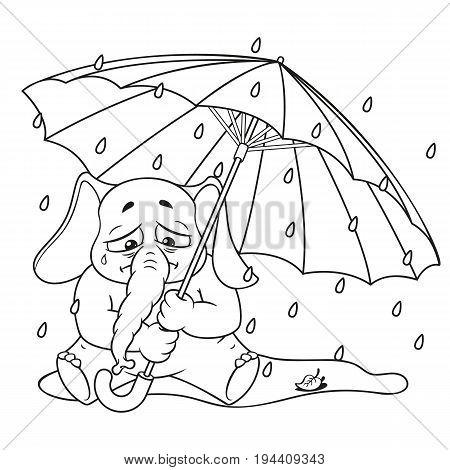 Elephant. Character. Crying under an umbrella, autumn, rain. Big collection of isolated elephants. Vector, cartoon.