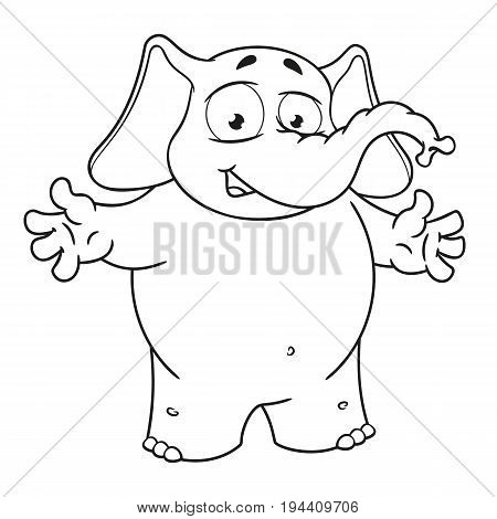 Elephant cute Nick. Big collection vector cartoon characters of elephants on an isolated background. Welcome. Throws hands. EPS 10.
