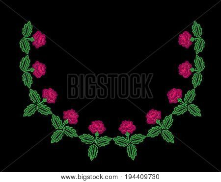 Embroidery stitches imitation neck line pattern with roses flower. Fashion embroidery rose on black background. Embroidery flower vector.