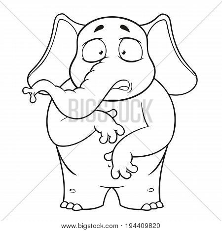 Elephant. Character. Surprised. He is surprised. Wow. Big collection of isolated elephants. Vector, cartoon
