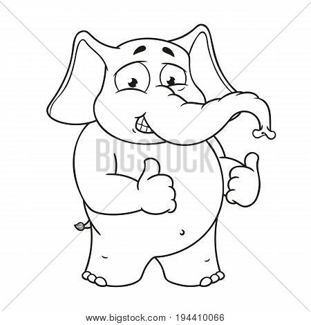 Elephant cute Nick. Big collection vector cartoon characters of elephants on an isolated background. Shows likes. EPS 10.