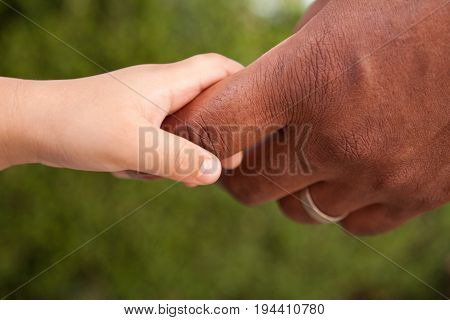 Close up of a biracial father and son holding hands.