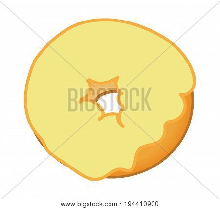 Yellow Frosted Donut on Isolated White Background