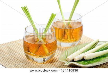Thai herbal drinks, Lemon grass on white background