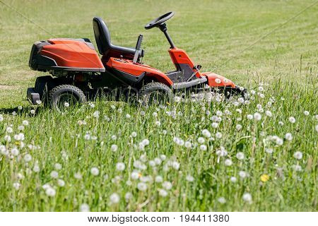 Red Lawn Mower Cutting Green Grass In The Garden. Grass-cutter On Field.