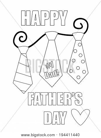 Happy Fathers Day Black and White Coloring Page