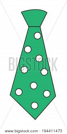 Cute Green Tie on Isolated White Background