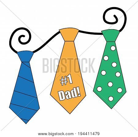 Happy Fathers Day Ties on White Background