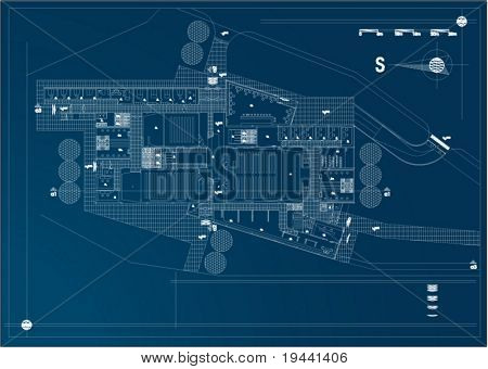 architectural draw with technical details of industry building - vector