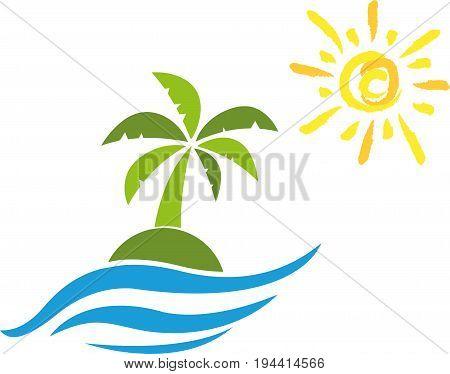Sun and palm, island, turism and holiday logo