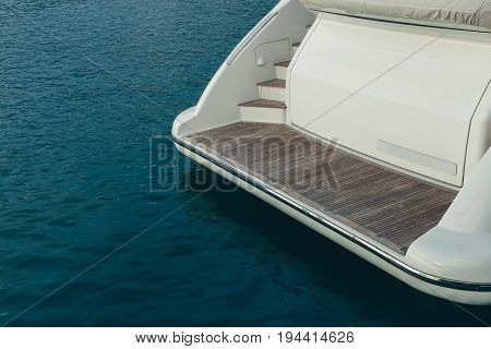 Stern Luxury Cruise Motor Yacht And Blue Sea Relaxation Resting Resort Concept