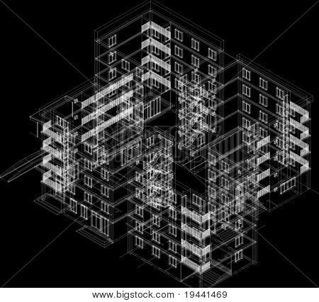 3D building on black background