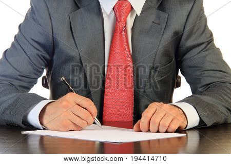 Businessman in red tie signs contract isolated on white background. Business contract concept.