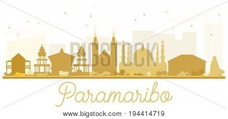 Paramaribo City skyline golden silhouette. Simple flat illustration for tourism presentation, banner, placard or web site. Cityscape with landmarks.