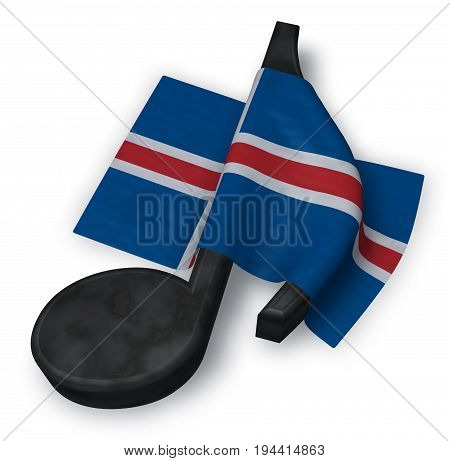 music note symbol and flag of iceland - 3d rendering