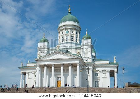 HELSINKI, FINLAND - JUNE 11, 2017: St. Nicholas Cathedral close-up on a sunny June day