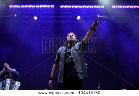 Bassano Del Grappa, Vi, Italy - April 29, 2017: Cilloni Yuri Is The Vocalist Of Nomadi An Famous Ita