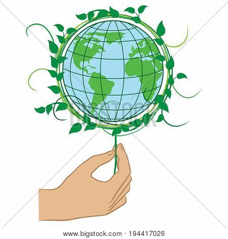 Human hand holding the Green Planet Earth ecology conceptual vector illustration