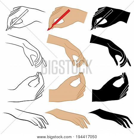 Set of twelve human hands hand drawing vector illustrations isolated on the white background