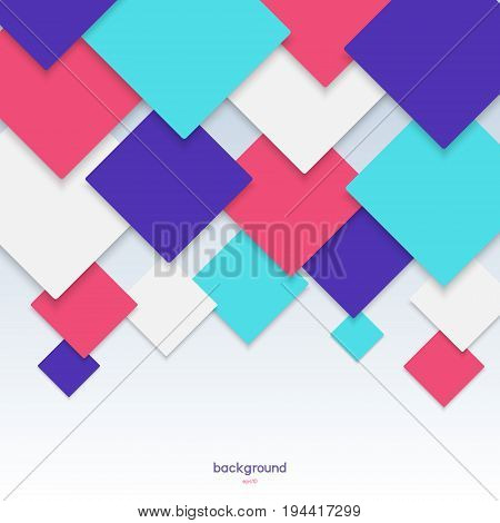 Color background pattern with a geometric rhombs from red blue turquoise and white with side shades for your design.