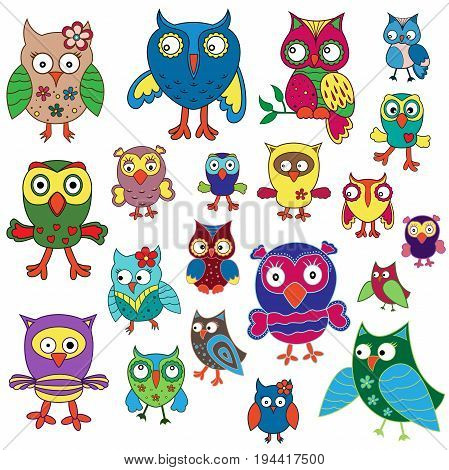 Set Of Twenty Amusing Colorful Owls