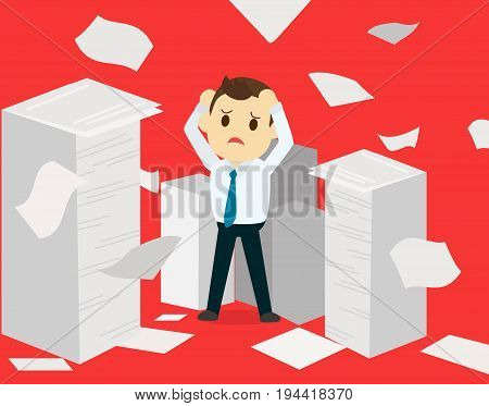 Businessman having a lot of paperwork.Young businessman surrounded by lots of papers. Business man standing in the heap of papers. Vector flat design illustration and red background deadline concept