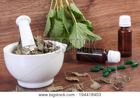 Fresh And Dried Lemon Balm In Mortar And Medical Pills, Choice Between Tablets And Alternative Medic
