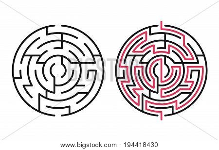 Abstract maze / labyrinth with entry and exit. Vector labyrinth