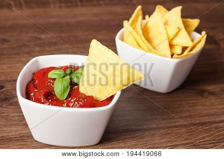 Salted Potato Crisps And Sauce In White Bowls, Concept Of Unhealthy Food