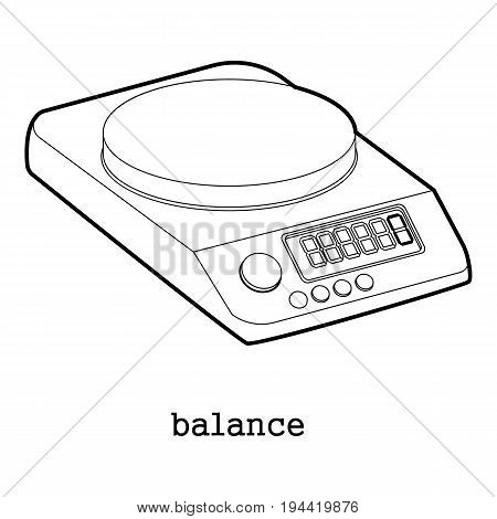 Electric scales icon in outline style isolated on white background vector illustration