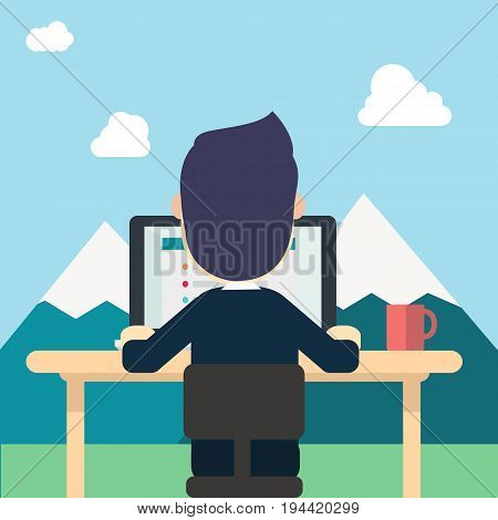 Businessman in back wear suite work around nature with tab work screen on computerlaptop and red cup on table vector illustration man work in naturemountainsclouds and sky.Concept work to relax.