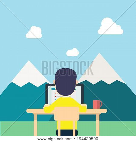 Back Young man yellow shirt work around nature with tab work screen on computerlaptop and red cup on table.illustration man work in naturefield mountainsclouds and sky.Concept work to relax.