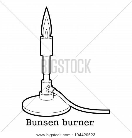 Bunsen burner icon in outline style isolated on white background vector illustration