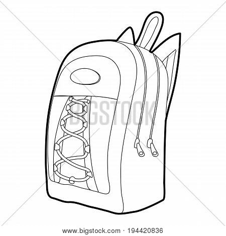 School backpack icon in outline style isolated on white background vector illustration