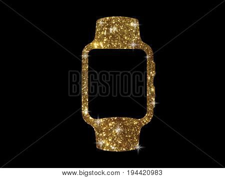 The vector golden glitter gold color flat smart watch icon on black background