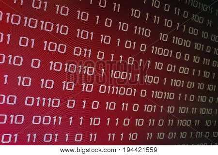 red binary code on computer screen. Red binary code background for problem internet, business, connection, technology and modern computer concepts.