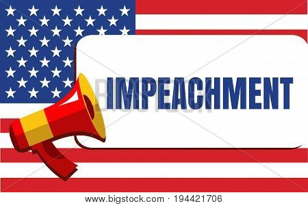 Political Poster with the Impeachment Word on the USA Flag Background. Flat StyleIllustration