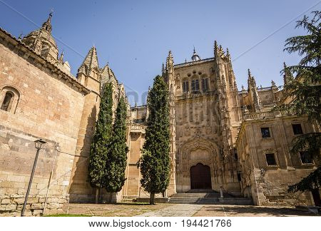 View of Salamanca Cathedral. The Old city of Salamanca is declared by UNESCO a World Heritage Site. Exterior image shot from public floor.