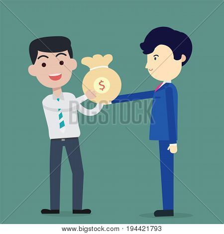 Business man blue suite bring bag of money to Employees white suite vector illustration bank loan cash giving credit packet salary payment