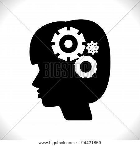 Gear In Head Pictograph