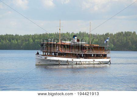 SAVONLINNA, FINLAND - JUNE 17, 2017: An old steamship