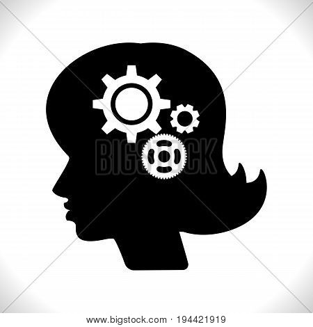 Gear in Woman Head Pictograph Isolated on White Background. Mind or Brain Icon Generation of Ideas Symbol