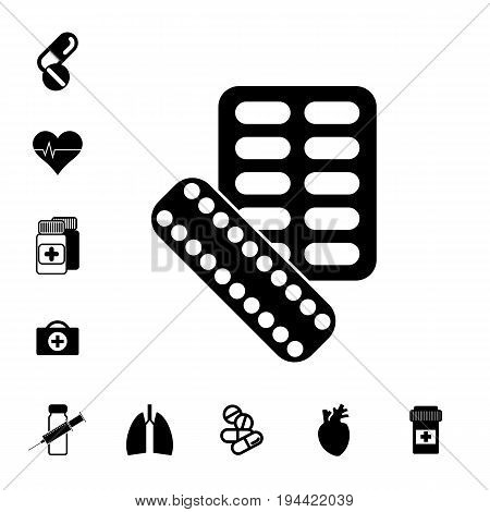 Pill or DrugIcon Set Isolated. Pharmacy Symbols Collection