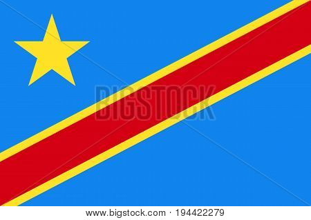 Democratic Republic of the Congo flag. National current flag, government and geography emblem. Flat style vector illustration
