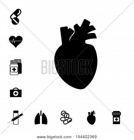 Human Heart with Arteries and Set of PillsIcon Isolated. Pharmacy Symbols Collection